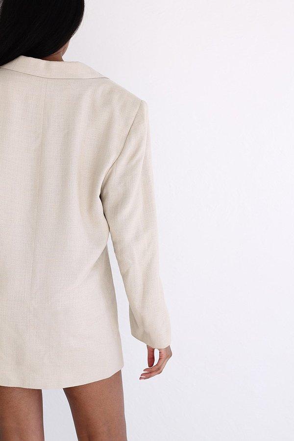 Vintage Linen Blazer - Cream