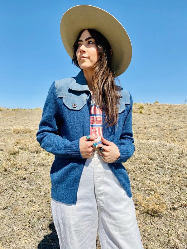 BLUE AS THE SKY WESTERN SWEATER CARDIGAN