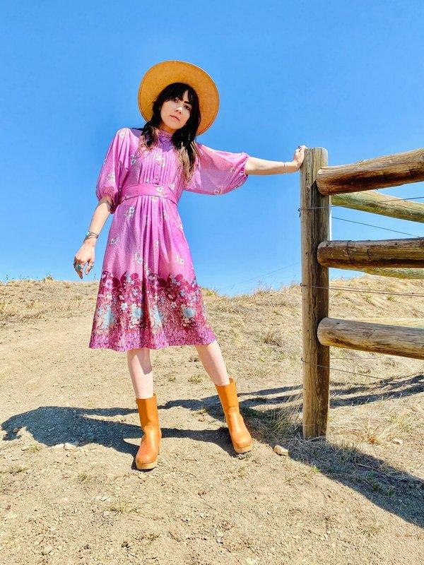 70S CALIFORNIA HILLS PEASANT DRESS