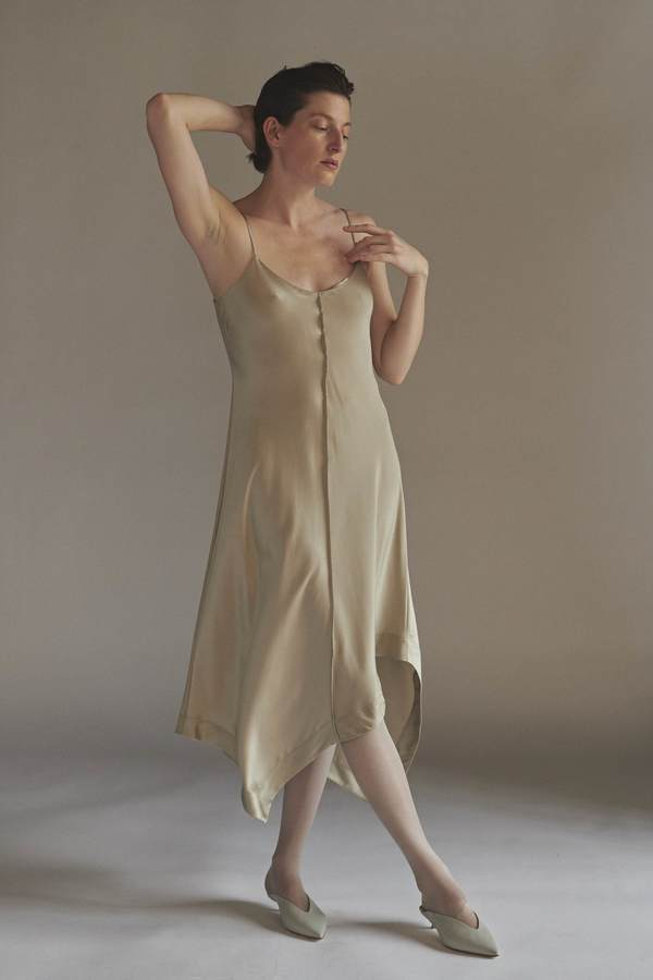 KES Asymmetric Quarter Slip Dress - Chestnut