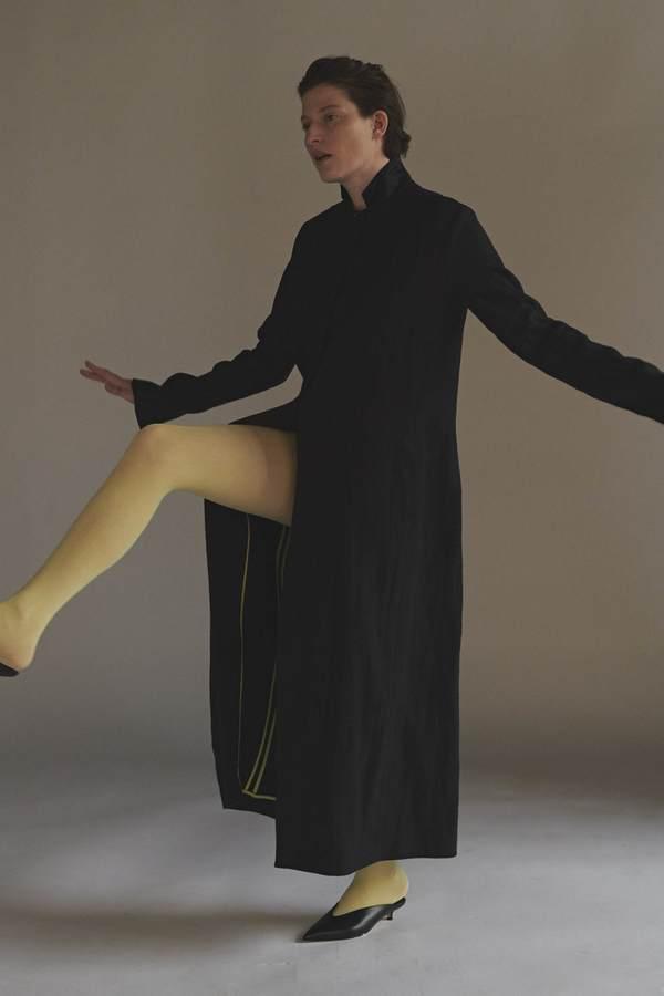 KES Full Length Linen/Silk Coat - Black (Pre-Order)