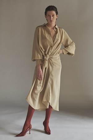 KES Handkerchief Button Up Tied Dress - Cloud