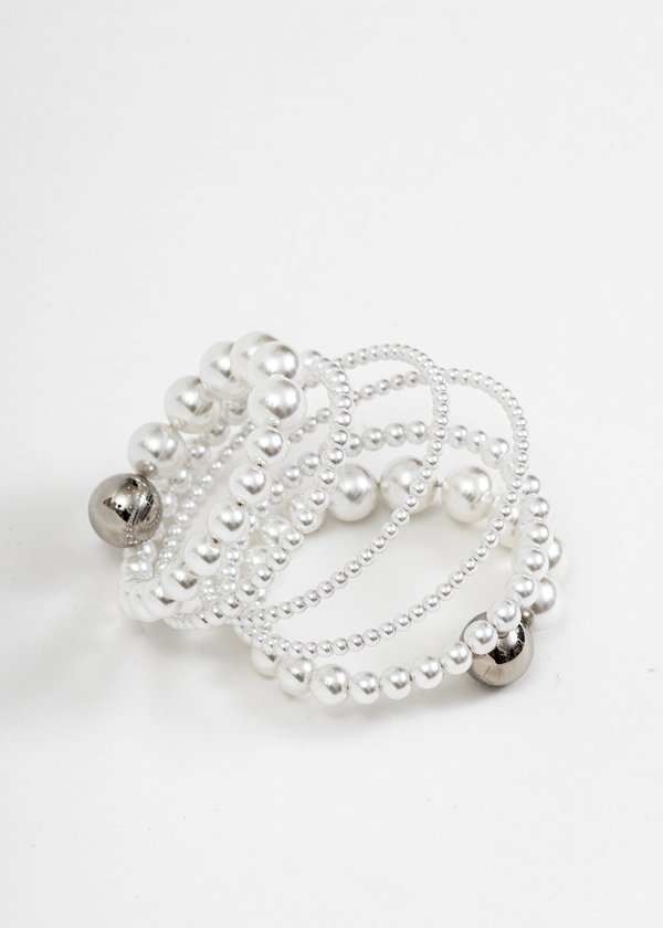 Silver and Pearl Spiral Bead Bracelet