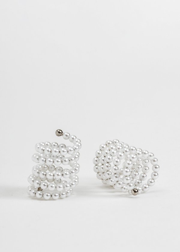 Silver and Pearl Spiral Rings (Single)