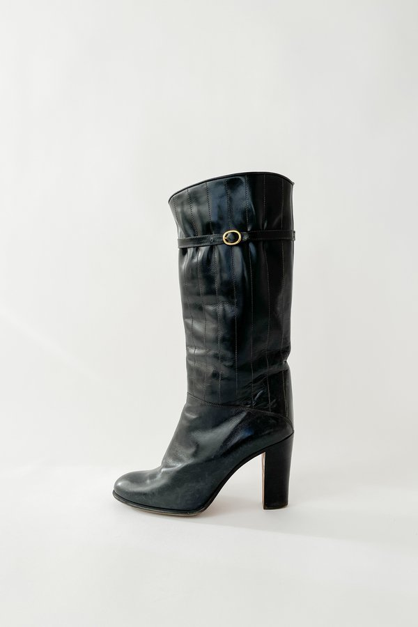 Black High Heel Paneled Buckle Boots (38.5)