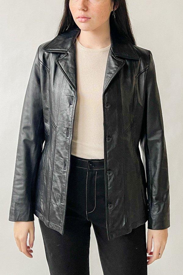 Black Leather Blazer Jacket (S-M)