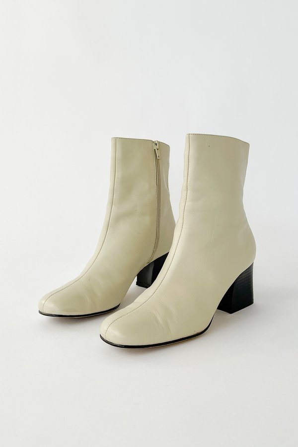 Eggshell Leather Ankle Boots (7)