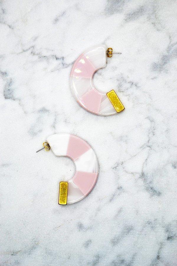 Tabby Hoop Earrings - Pink/White