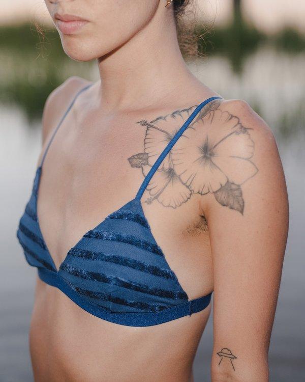 Baserange Velour Striped Bra - Blue