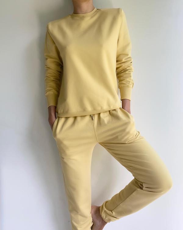 Parentezi Crew Neck Shoulder Pad Sweater - Sunshine