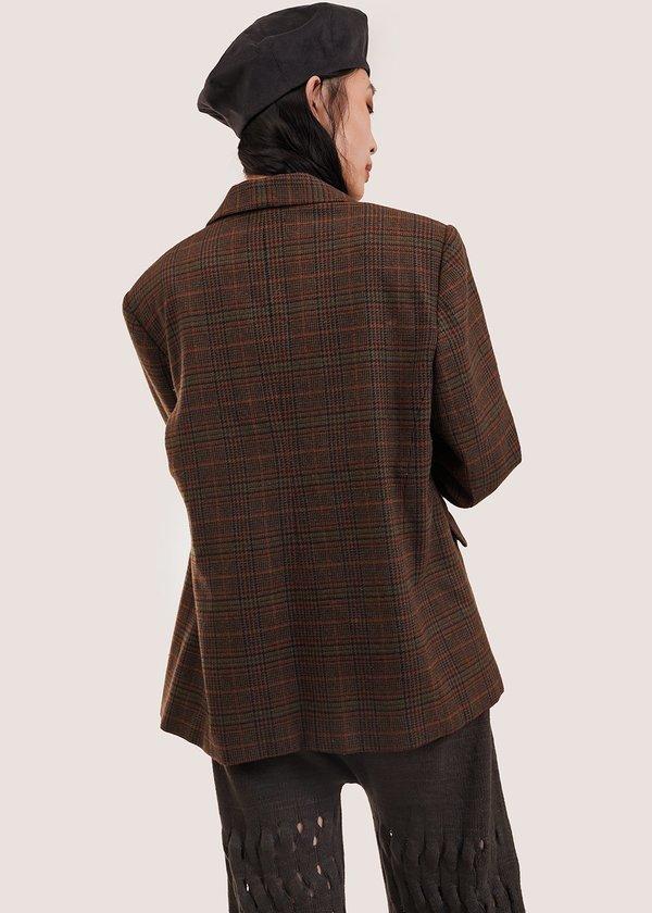 Vintage Plaid 01 Blazer - Brown/Orange