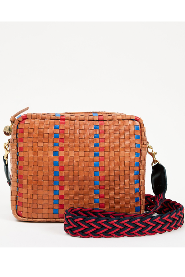 Clare V. Marisol Naby and Poppy Striped Woven Checker Bag - Natural