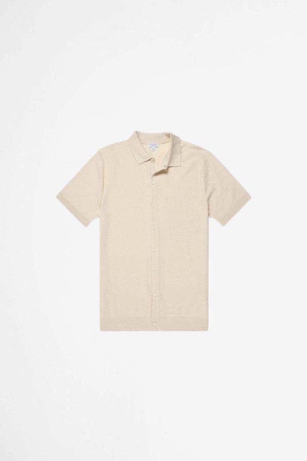 Sunspel Cotton Fine Texture Knitted Shirt - Ecru