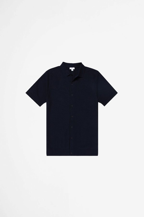 Sunspel Cotton Fine Texture Knitted Shirt - Navy