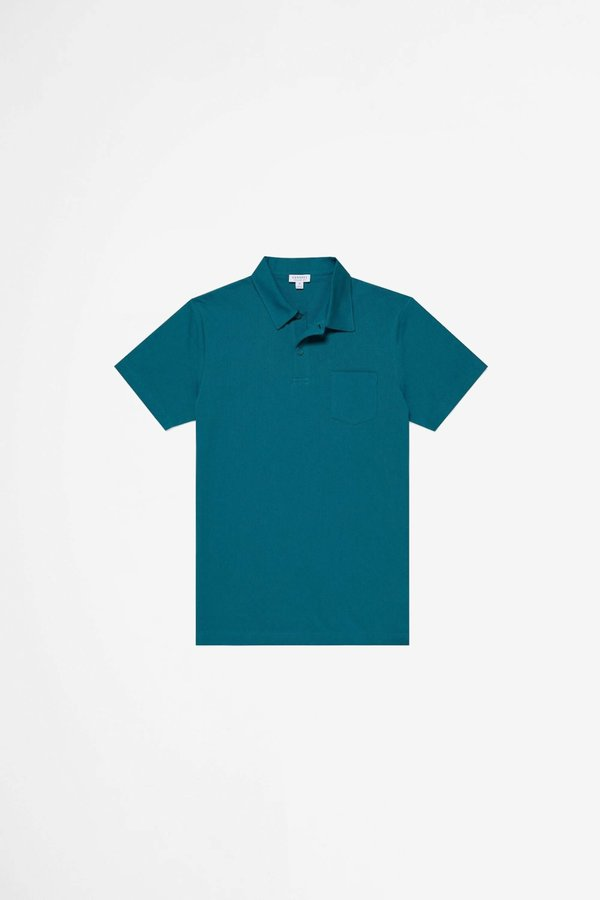 Sunspel Riviera Polo Shirt - Bright Petrol
