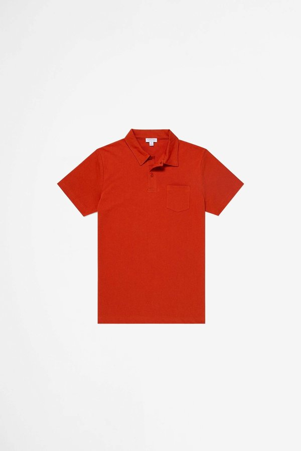 Sunspel Riviera Polo Shirt - Burnt Orange