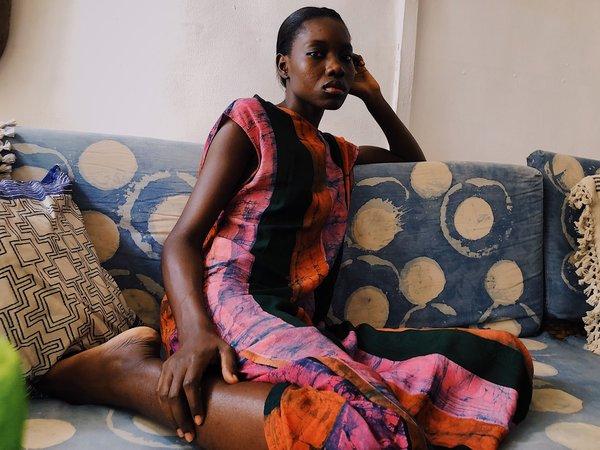 ReRuns Maeha Boubou dress in Carmine