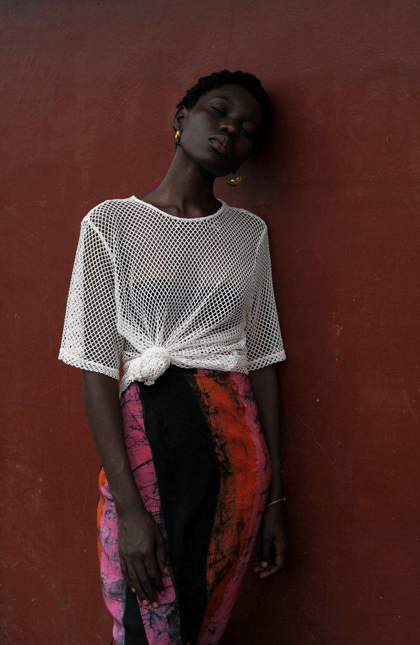ReRuns Studio wrap skirt in Carmine