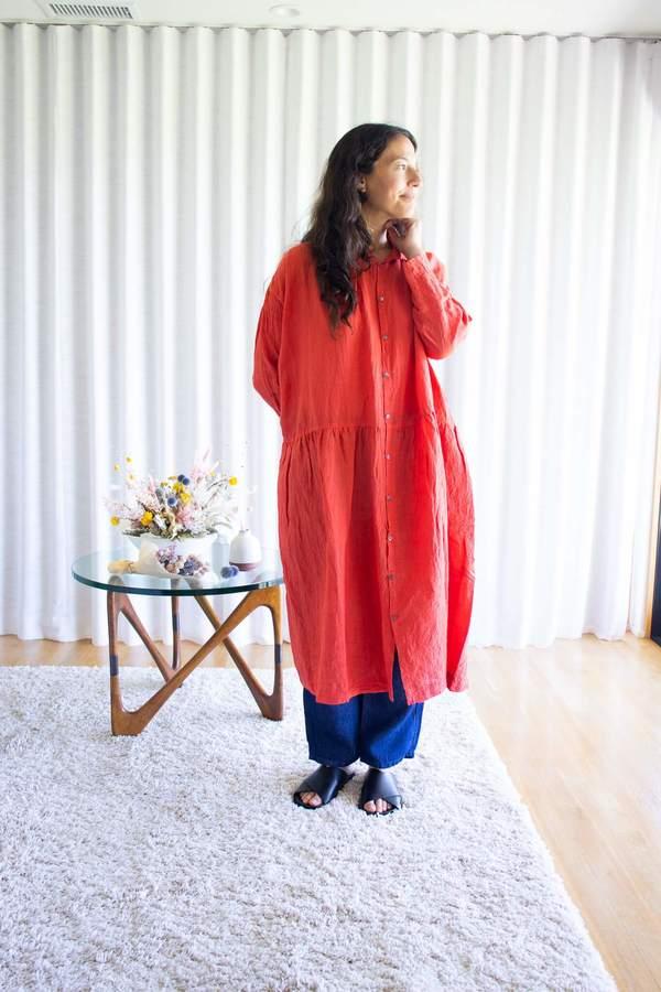 Ichi Antiquités Color Linen Dress in Red