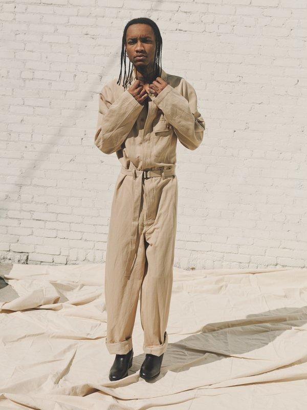 Unisex Lemaire Soft Cotton Linen Jumpsuit - Blond Beige
