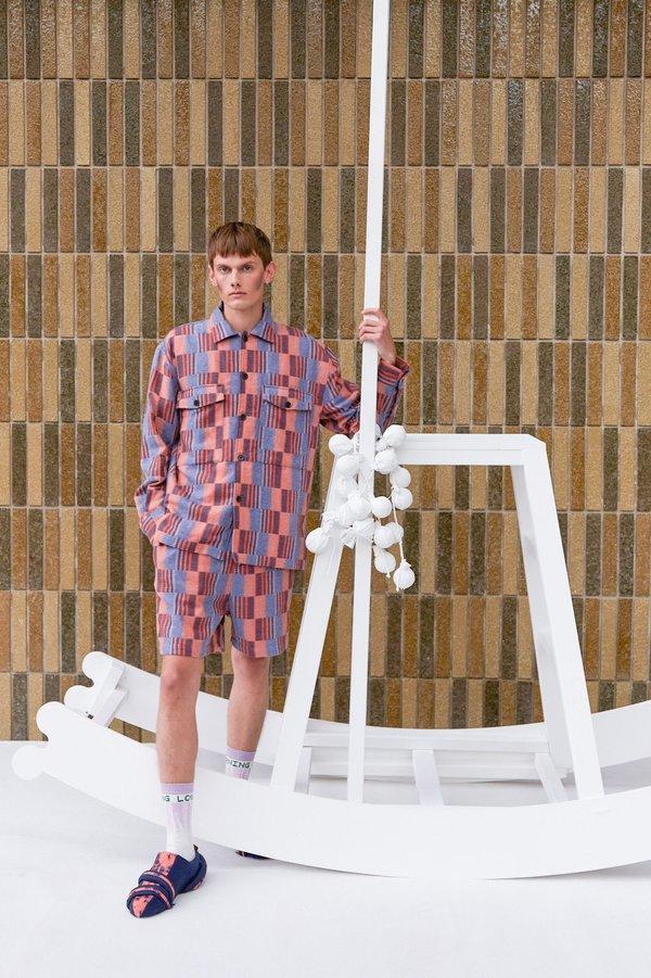 Henrik Vibskov Spyjama Shorts - Light Blue/Orange