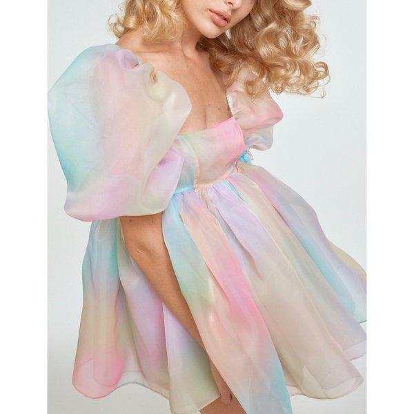The Puff Dress Short Rainbow