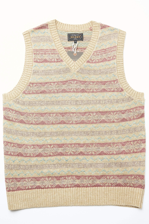 1920s Style Mens Vests Beams Plus Fair Isle Pattern Knit Vest - KHAKI $140.00 AT vintagedancer.com