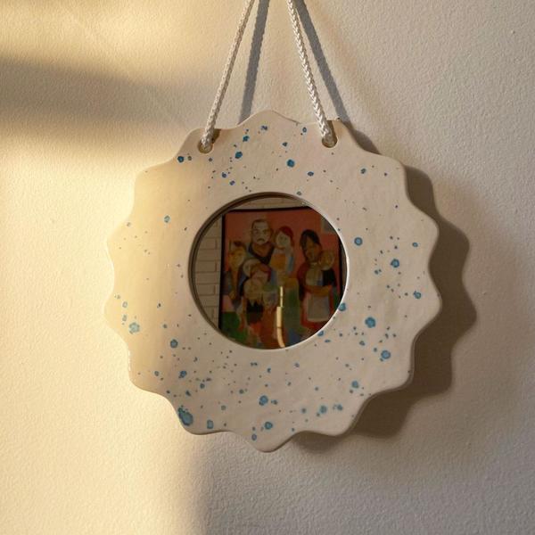 Dutch Blue Splatter Wall Mirror
