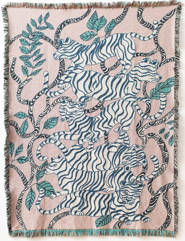 Lavender Tiger Landscape Throw Blanket