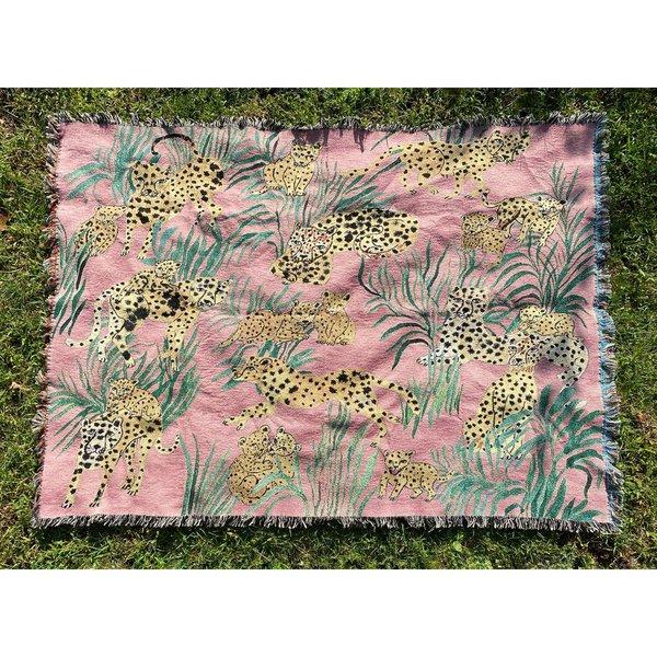 Pink Cheetahs Throw Blanket