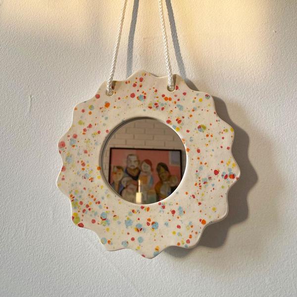 Rainbow Splatter Wall Mirror