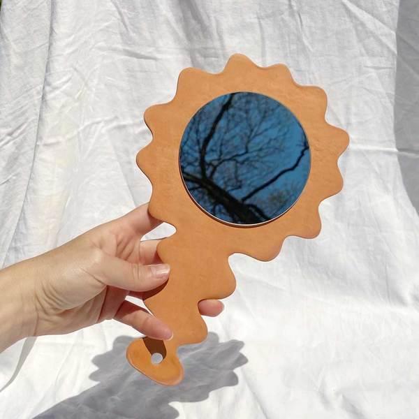 Raw Terra Cotta Hand Mirror