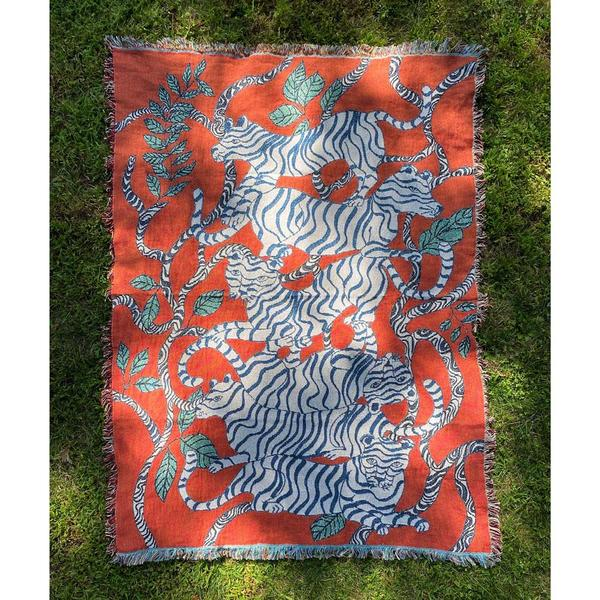 Red Tiger Landscape Throw Blanket