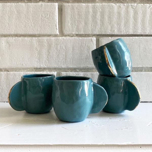 Cóte García Set of 4 Espresso Cups - Teal