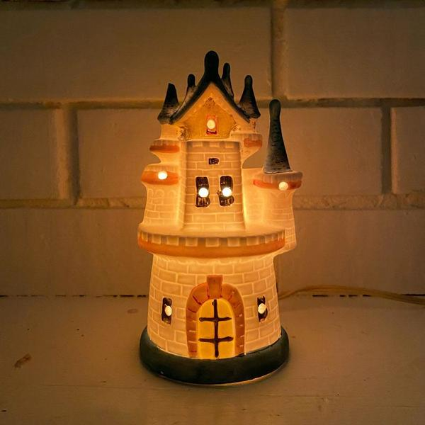 Vintage Ceramic Castle Lamp