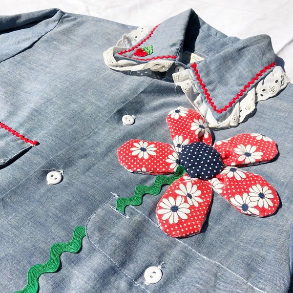 Vintage Embellished Chambray Shirt