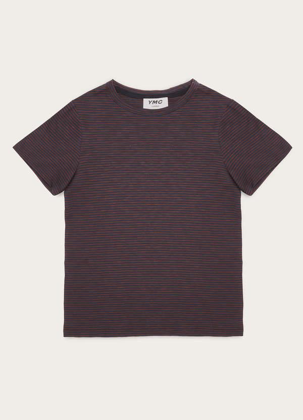 Stripe Day Slub Cotton T-Shirt Navy Red
