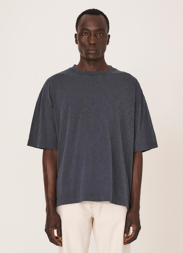 Triple Cotton Slub Jersey T-Shirt Navy