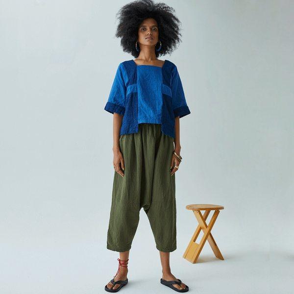 Atelier Delphine Kiko Wrinkled Cotton Pant - Hunter Green