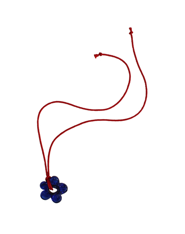 Brooke Callahan Glass Flower Necklace - Red/ blue