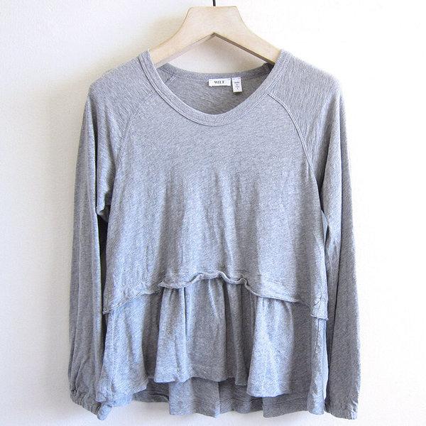 Wilt Femme Mock Layer Raglan Soft Sleeve - Grey Heather