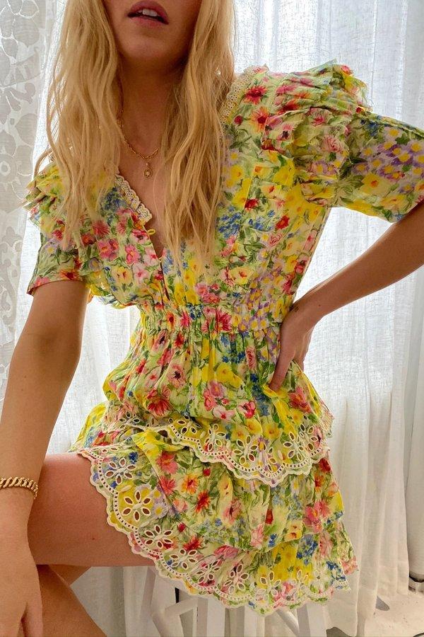 LoveShackFancy Aldina Mini Dress Rainbow Skies S