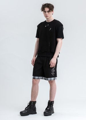 C2H4 Distressed Layered Sequin Tailored Shorts - Black