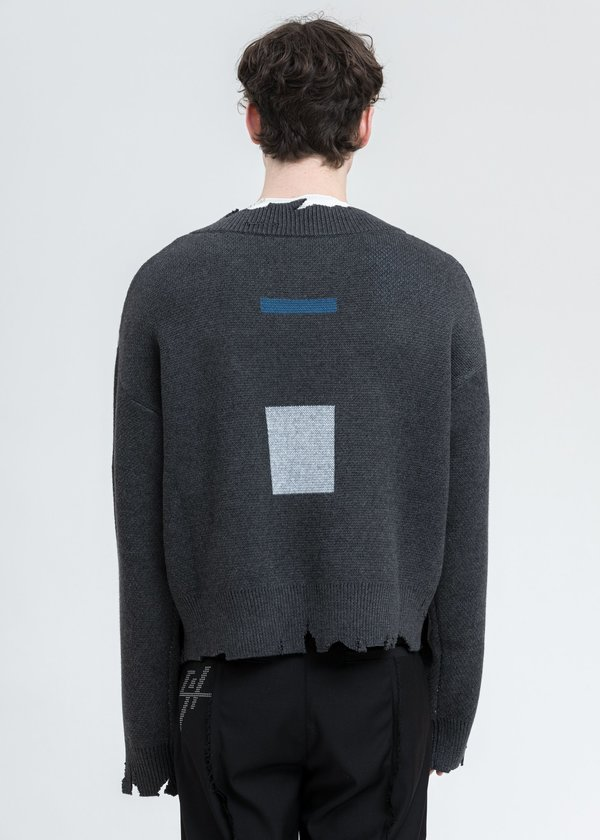 C2H4 Distressed Geometry Knit Layered Sweater - Grey