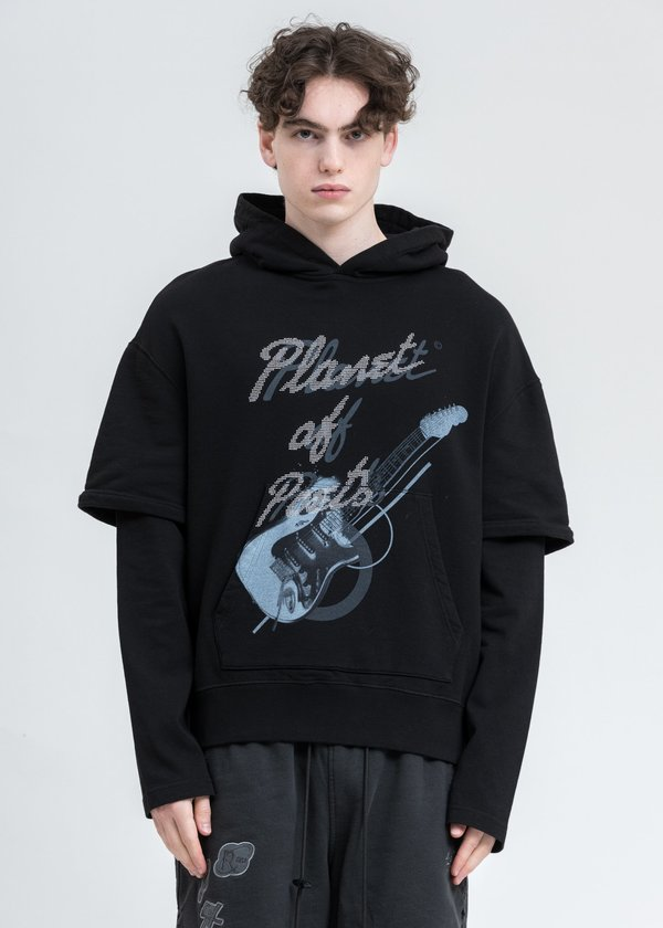 C2H4 Grunge Guitar Double Layer Hoodie - Black