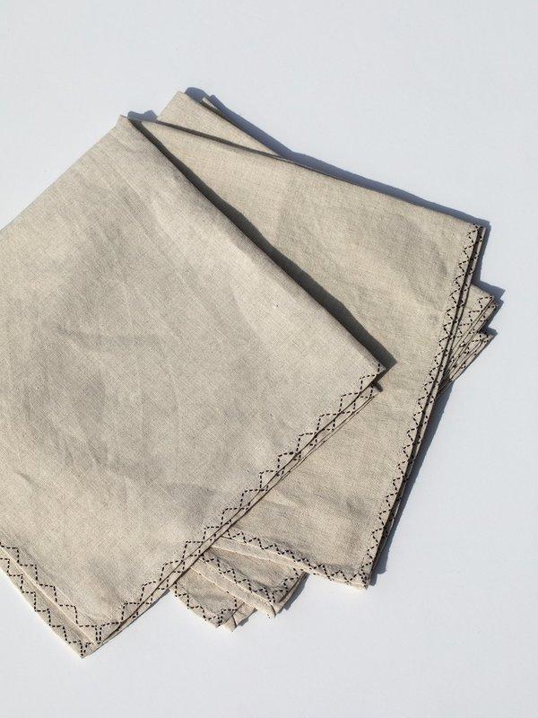 Erica Tanov Hand-Embroidered Natural Linen Napkins
