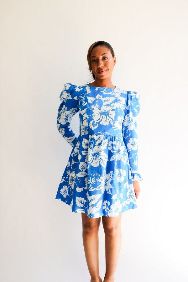 [Pre-loved] Batsheva Hibiscus Mini Dress - Bright Blue/White