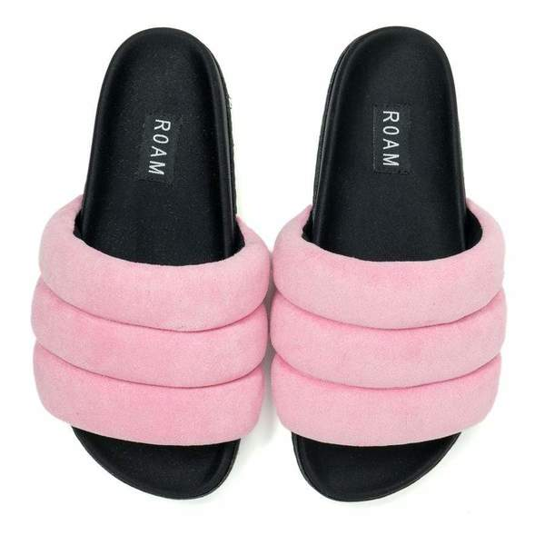 Roam Suede Puffy Sandals - Pink