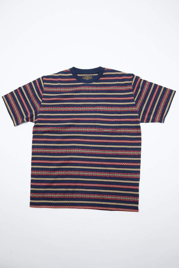 Beams Plus Pocket Tee - Jacquard Stripe/Navy