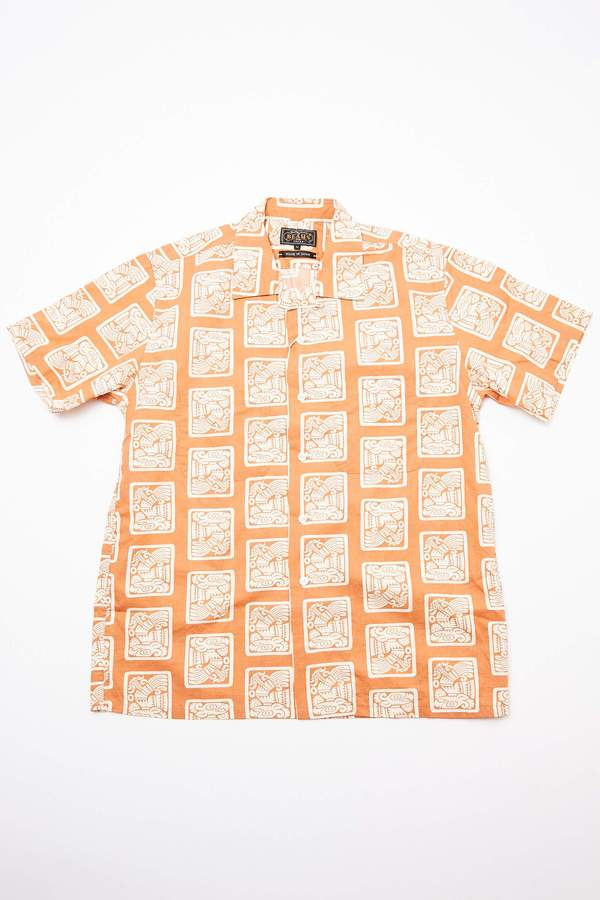 Beams Plus Short Sleeve Open Collar Dobby Print Shirt - Light Brown